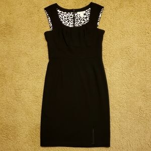 WHBM Leopard Lined Black Pleated Crepe Tank Dress
